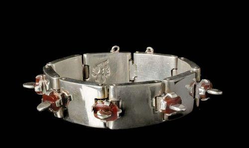 "Antonio Pineda Mexican 970 silver carnelian ""tongues"" Bracelet"