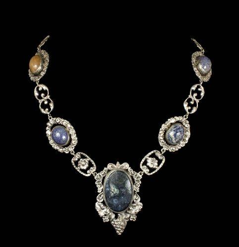 Italian 800 silver sodalite Necklace ~ Peruzzi style grapes and shells