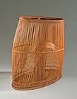 Japanese Mid 20th C. Bamboo Flower Basket by LNT Maeda Chikubosai II