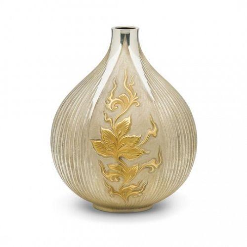 Japanese 20th C. Silver Vase with Peony Design by Kawamura Seiji
