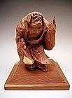 Japanese 20th Century Wooden Okimono of KANZAN Hermit