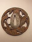 Japanese Mid Edo Period Akao Tsuba with Palm Design