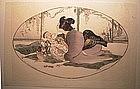 "Japanese Woodblock Print - ""Baby Talk"" by Helen Hyde"