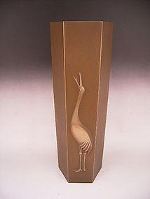 Japanese Mid - L. 20th C. Bronze Vase by Neya Churoku