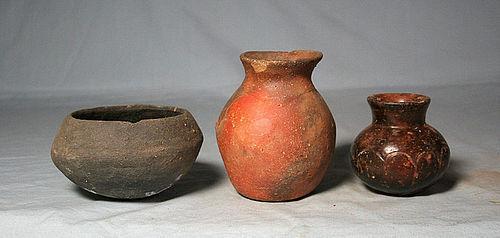 Precolumbian (3) Jalisco pots ca. 1 ad. No Restoration