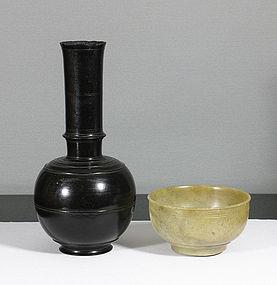 A Stone Flask, Surahi, India 19th century.