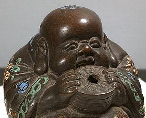 Chinese Yixing Stoneware Budai Incense Burner, 19th C. Signed.