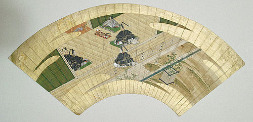 Japanese Tosa School painted fan, 17th century.