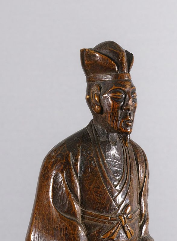 Japanese Wood Sculpture of a Poet, perhaps Basho.