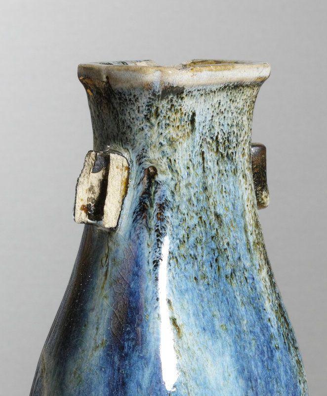 A Chinese Shiwan stoneware fanghu vase, Late Ming