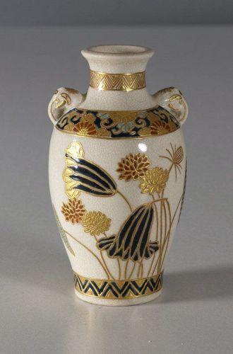 Satsuma vase by Hogetsu, Shimizu mon, Gosu Blue.