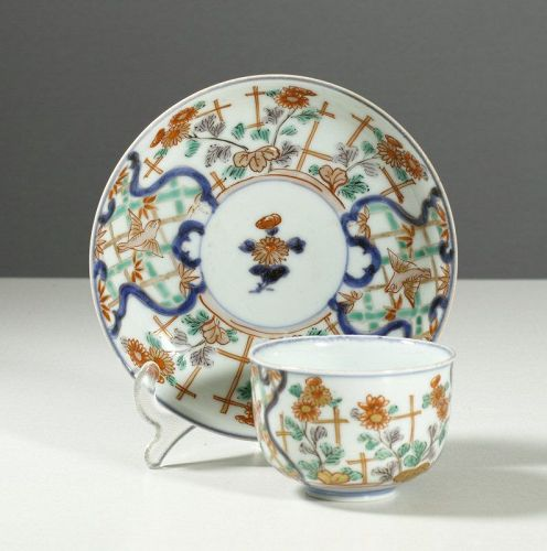 Arita Polychrome bowl and saucer, early 18th Century