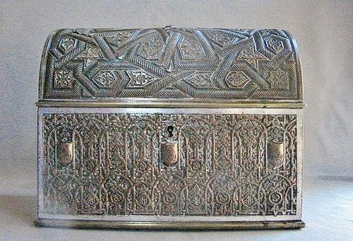 RAFAEL CONTRERAS Rare Silver Plate Coffer - Alhambra Granada 19th Cent