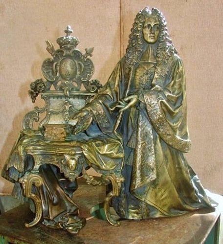 "16"" Bronze Louis XIV in Royal Regalia - 19th Century"