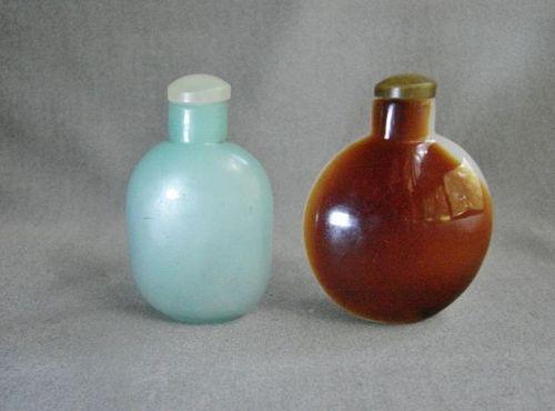 Pair of Peking Glass Snuff Bottles - 19th - Century - Faux Gemstone
