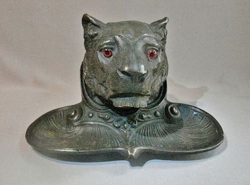 Bronze Inkwell Lion Head - 19th Century Finely Detailed.