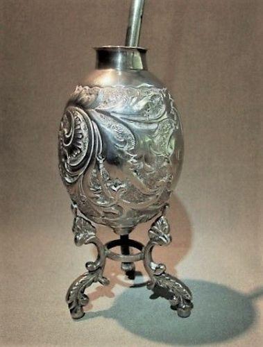 Silver Mate Cup and Bombilla - ca 1900