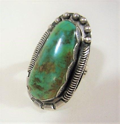 Larve Vintage Navajo Ring - Sz 8 3/4 - Fine Silver Work - Large Stone