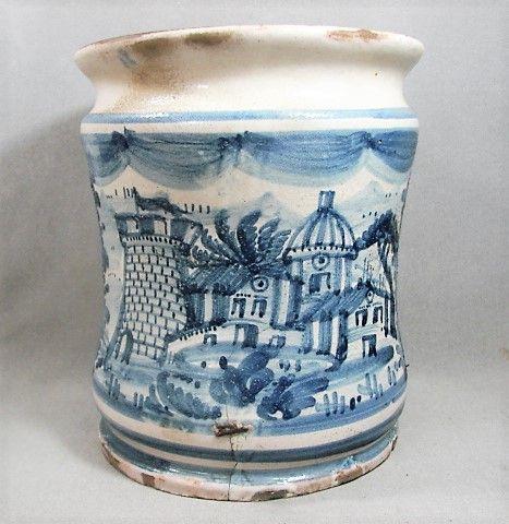 18th Century Italian Tin Glaze Albarello - Blue White Town Scene