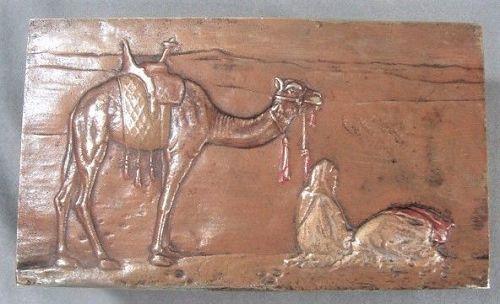 Orientalist Austrian Bronze Box - Desert Scene - Camel and Figures