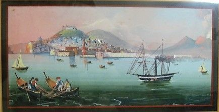 19th Century Gouache of Naples Bay and Mt. Vesuvius