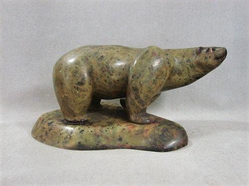 Inuit Sculpture Polar Bear - Mottled Stone
