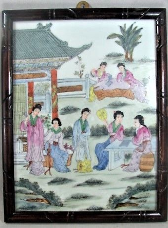 Qing Framed Porcelain Panel Women in Landscape