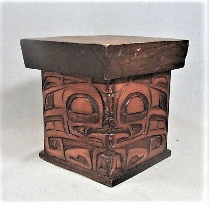 Fine Small Mid Century Kerfed Northwest Coast Carved Box - Signed