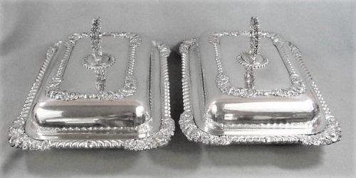 Sheffield Silver Plate Pair Entree Servers - ca 1835