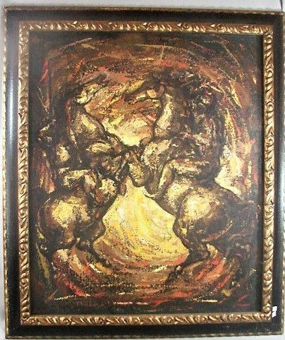 Charles Burdick O/C Framed - Rearing Horses with Riders