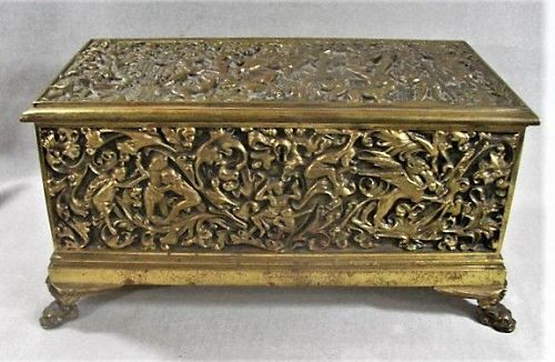 Renaissance Revival Mythological Footed Bronze Coffer