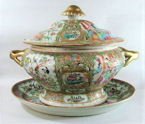 Huge Rose Medallion Tureen and Underplate - ca 1860