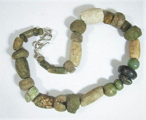 "19"" Strand Pre-Columbian Beads - 31 Greenstone Bead Necklace"