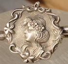 Silver Art Nouveau Lady Pin