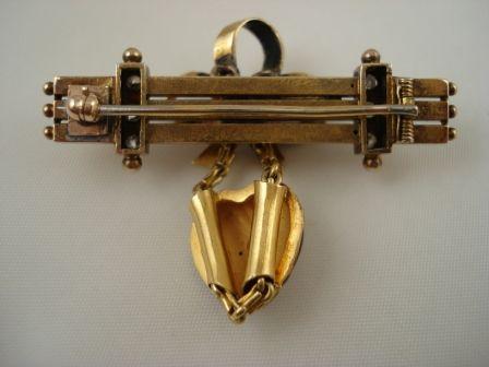 Diamond and Enamel Victorian Pin