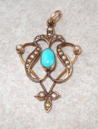 Turquoise Art Nouveau Lavalier