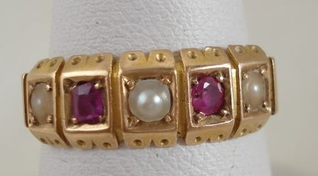 Ruby and Pearl Victorian Ring
