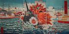 Sino-Japanese War Woodblock Print Triptych Ikuhide