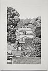 Oversized Japanese Ltd. Ed Etching Tanaka Ryohei Takafune Village