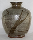 "Japanese Mashiko Stoneware Kaki Vase with ""Y"" Potter�s Seal 9"" High"