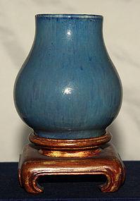 Chinese Qing Junyao Type Blue Monochrome Scholar's Porcelain Bud Vase