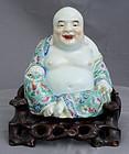 Chinese Qing Guangxu Famille Rose Porcelain Budai Custom Wood Stand