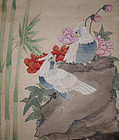 Chinese Qing Scroll Painting on Paper After Zou Yigui Cockatoos