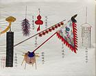 Chinese Qing Painting Album Beijing Customs Zhou Peichun Studios