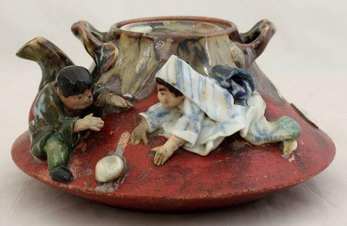 Japanese Sumida Gawa Sake Pot Teapot Tea Pot Children Ban-ni Mark