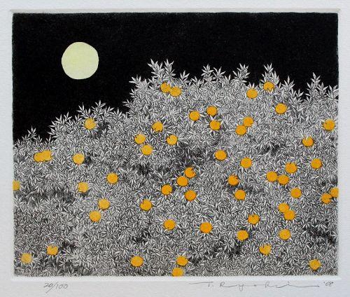 Japanese Ltd. Ed. Etching Aquatint Tanaka Ryohei Tree of Mandarin