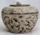 Large Thai Sawankhalok Brown Glaze Lidded Stoneware Ceramic Footed Box