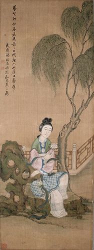 Chinese Qing Painting on Silk of a Maiden in a Garden by Tang Luming