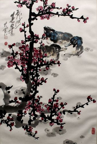 Vintage Chinese Panting by Zhang Kuan of Two Ducks Cherry Blossoms