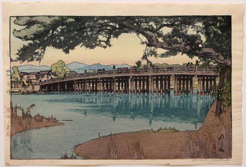 1st Edition Japanese Woodblock Print Hiroshi Yoshida Seta Bridge